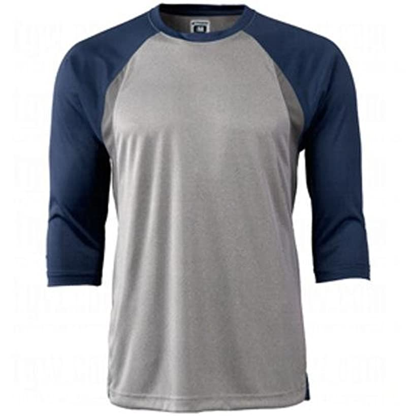 CHAMPRO Extra Innings 3/4 Sleeve Baseball Shirt; XL; Grey