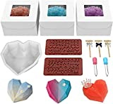 WIWISI Breakable Heart Mold Set for Chocolate Includes 1pcs Heart Silicone Molds 3 Hammers 3 Gift Boxes 2 Droppers 2 Number and Letter Molds for Birthday Valentine's Day Gift