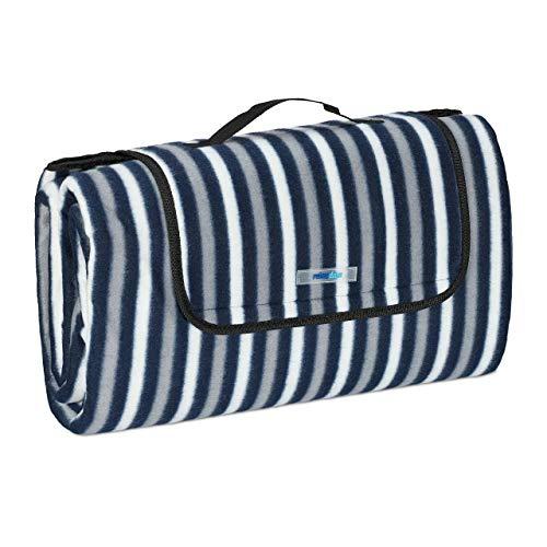 Relaxdays XXL Picknickdecke, 200 x 200 cm, Fleece Stranddecke, wärmeisoliert, wasserdicht, Tragegriff, blau/grau/weiß