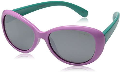 Polaroid Unisex-Kinder Pld 8004/S Jb T5F 48 Sonnenbrille, Türkis (Lilac Turqise/Grey)