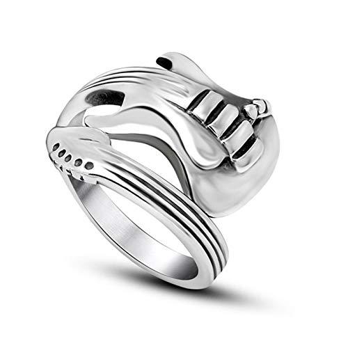 lefeindgdi Anillos ajustables de acero de titanio, anillos de forma retro vintage de guitarra, anillos de joyería regalo para hombres y mujeres