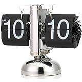 xxz Reloj de Escritorio con Tapa, Reloj Retro con Tapa abatible Vintage, Relojes Flop pequeños de Acero Inoxidable, batería, decoración para el hogar y la Oficina