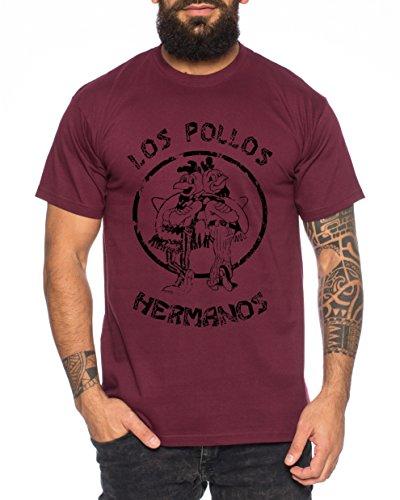 Used Look Los Pollos Herren T-Shirt Heisenberg Hermanos Bad Mr White Breaking, Farbe:Weinrot;Größe:XL