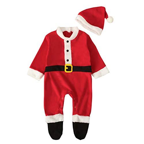 Natale Babbo Bambini Bambina Costume, 2 PCS Pagliaccetto + Cappello Neonato Tuta Bambino Pigiama Inverno Vestiti Notte Due Pezzi Bambina Invernale Abbigliamento Natalizi Christmas/ Rosso, 3-6 Mesi