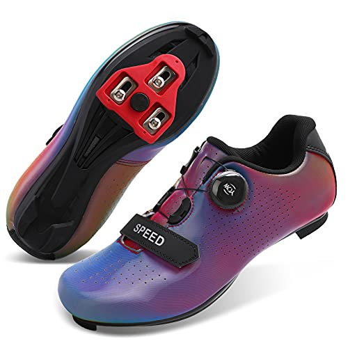 Fires Mens Womens Road Bike Cycling Shoes Spin Shoes for Indoor Riding Peloton Shoes Compatible with SPD and Delta Cleats Mountain Bike Shoes Colorful Women 7.5 Men 5.5