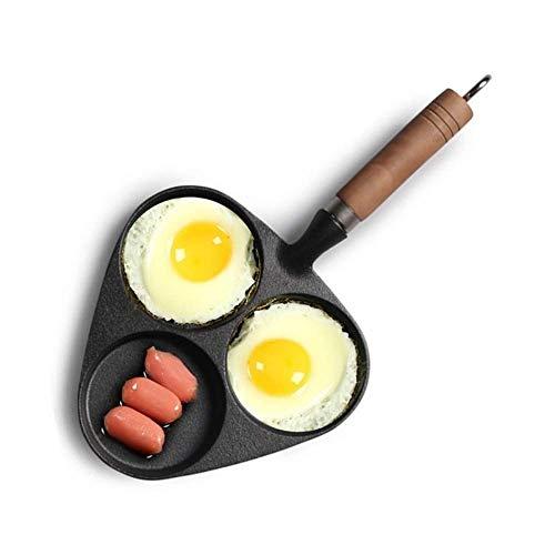 Padella in ghisa Scomparto 3 in 1 senza rivestimento Padella per omelette Casseruola con manico lungo Fornello a gas Padella Padella da cucina e da pranzo Pentole Padella
