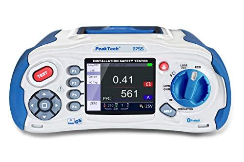 PeakTech 2755 – VDE-0100 Installationstester mit Bluetooth, USB & SD-Karte, Multifunktions Prüfgerät nach VDE mit 3,5