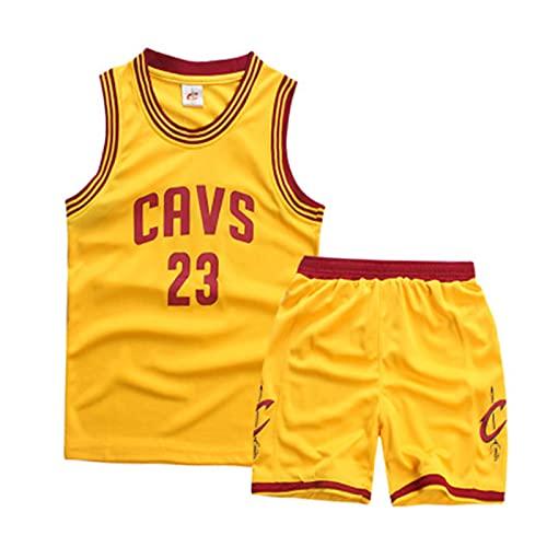 Cavaliers James # 23 Sudadera y Pantalones Cortos para niños, Camiseta sin Mangas de Baloncesto + Juego de Ropa de Pantalones Yellow-XL
