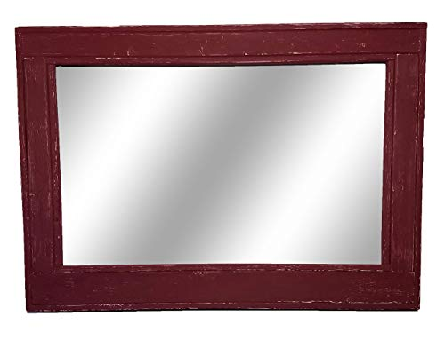 Herringbone Reclaimed Wood Framed Mirror, Available in 4 Sizes and 20 Paint Colors: Shown in Sundried Tomato Red - Bar Decor Accessories - Decor for Living Room - 24x30, 36x30, 42x30x 60x30
