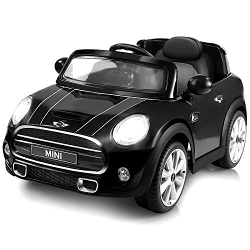 Costzon Ride On Car, Licensed BMW Mini Cooper Electric Car, 12V Battery Powered Kids Vehicle with Manual/Parental Remote Control Modes, MP3 Port, Headlights, Music, High/Slow Speeds (Black)