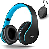 zihnic Wireless Over-Ear Headset with Deep Bass, Bluetooth and Wired Stereo Headphones Buit in Mic for Cell Phone, TV, PC,Soft Earmuffs &Light Weight for Prolonged Wearing (Black/Blue)