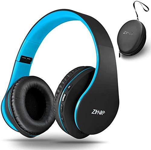 Zihnic Auriculares inalámbricos para Colocar sobre Las Orejas con Graves Profundos, Bluetooth y Auriculares estéreo con Cable, micrófono Integrado para teléfono Celular, TV, PC, (Negro/Azul)
