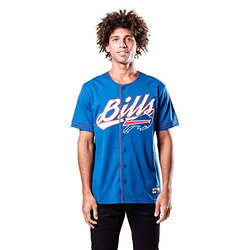 Ultra Game NFL Buffalo Bills Mens Mesh Baseball Jersey Tee Shirt, Team Color, X-Large