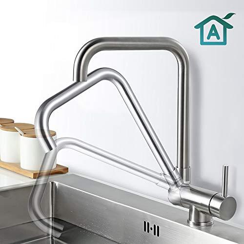 AiHom 360° schwenkbar Küche Wasserhahn, Vorfenster Armatur für Küche, Mischbatterie drehbar Einhandmischer Vorfenstermontage, aus Edelstahl, Spültischarmatur Matt