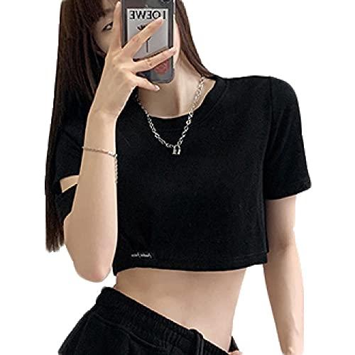 Cuello Redondo Camiseta Cropped Mujer Niña Manga Corta Camisetas Mujer Ombligo con Negro Letras Camiseta Nina Crop S