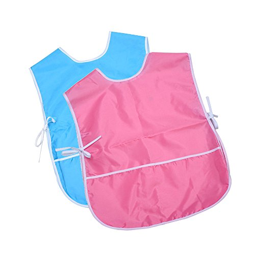 Mudder 2 Pieces Children's Art Smock, Artist Smock, Waterproof Painting Apron (Blue and Pink)