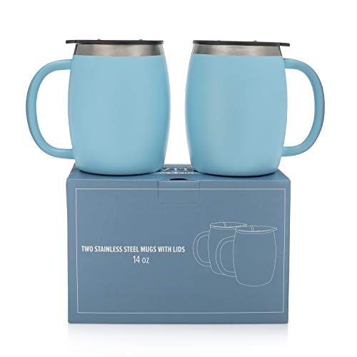Stainless Steel Coffee Mugs with Lids - 14 Oz Double Walled Insulated Coffee Beer Mugs - Set of 2 - Blue - Best Value - BPA Free Healthy Choice - Shatterproof and Spill Resistant - By Avito
