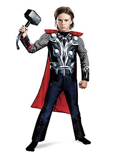 Thor carnavaljurk incl. elastiek pak met spieren en omhang voor kinderen, maat S - 3-4 jaar