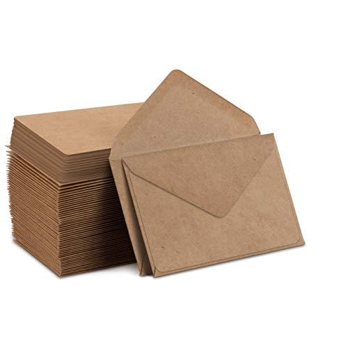 Kraft Mini sobres y tarjetas de papel kraft, sobres de papel kraft café para tarjetas de regalo y tarjetas de visita (10 x 7 cm, 100...