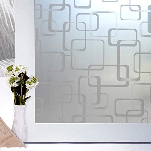 LMKJ Etiqueta autoadhesiva para Ventana Plateada geométrica Opaca privada película de Vidrio privada baño Dormitorio película Decorativa de Vidrio A78 45x200cm