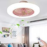 JYTBD Yun TAO Exquisite Lamps Moderna Regolabile di velocità del Vento dimmerabile Telecomando 36W da Letto Soggiorno in Camera, Grigio Dining (Color : Pink)