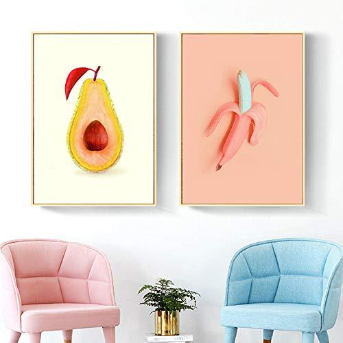 hdbklhjxk canvas schilderij fruit Nordic poster Home Decor baby kamer cartoon canvas schilderij wandkunst schilderijen voor babykamer 40x60cmx2 niet ingelijst