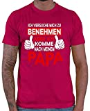 Hariz – Camiseta para hombre, diseño con texto en alemán 'Ich Versuche Mich zu Benehmen aber Ich Komme nach Mein Papa Color rojo. XL