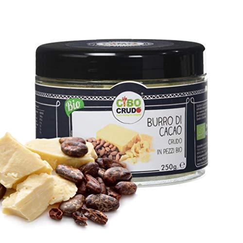 Cibocrudo Burro di Cacao in Pezzi Biologico, Qualità Criollo, Provenienza Perù, Per Uso Alimentare in Ricette Dolci, Ottimo per Creme Fatte in Casa Corpo, Viso e Labbra, 250 Grammi