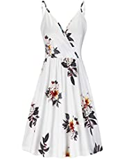 VOTEPRETTY Women's V-Neck Floral Spaghetti Strap Summer Casual Swing Dress with Pockets (Floral-G,M)