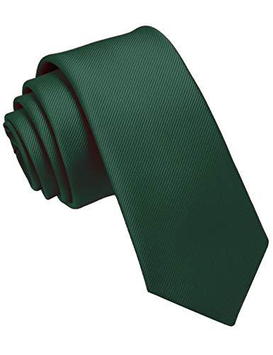 JEMYGINS Krawatte Dunkelgrün schmale Krawatten für Herren seide Hochzeit Schlips (3)