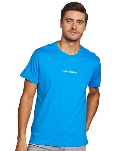 Calvin Klein Instit Chest Logo Reg Tee T-Shirt, Blu (Coastal Blue C2o), Medium Uomo