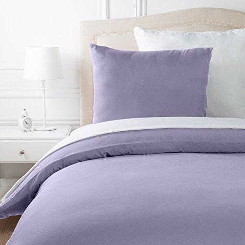 AmazonBasics microvezel dekbedset, mat lavendel, 140 cm x 200 cm / 65 cm x 65 cm x 1