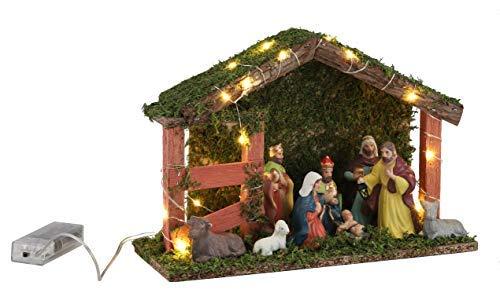 Spetebo Weihnachtskrippe mit 20 LED und 9 Figuren - Holz Tischdeko beleuchtet Weihnachtsdeko Krippe Figuren handbemalt