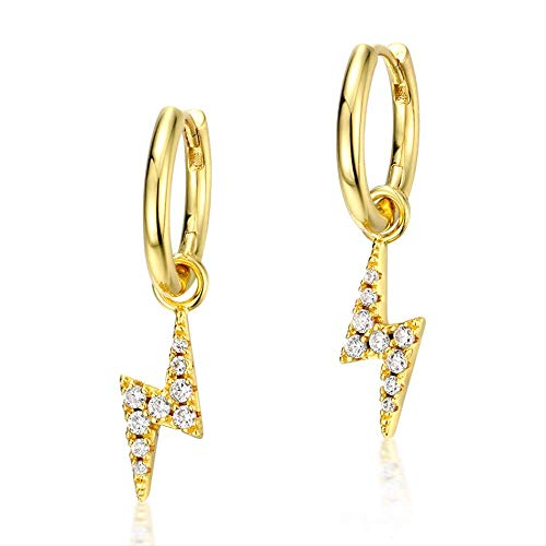 925 pendientes colgantes de plata esterlina para las mujeres Zircon diamante piedra preciosa oro plateado rayo raya joyería fina