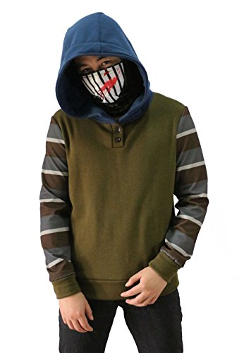 Uyecos Cosplay Hoodie Ticci Toby Hoodie Men's Thicken Pullover Jacket Sweater Cosplay Costume (Men's Size S, Army Green)