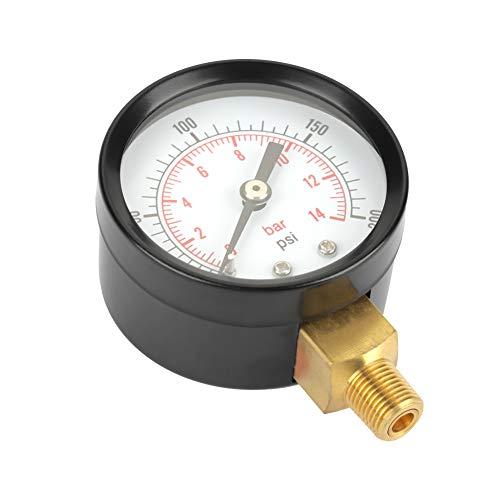 Medidor de presión, 0-200 psi / 0-14 bar Manómetro de metal de doble escala Agua Aire Aceite Dial Medidor de presión NPT Conexión de rosca de 1/8'