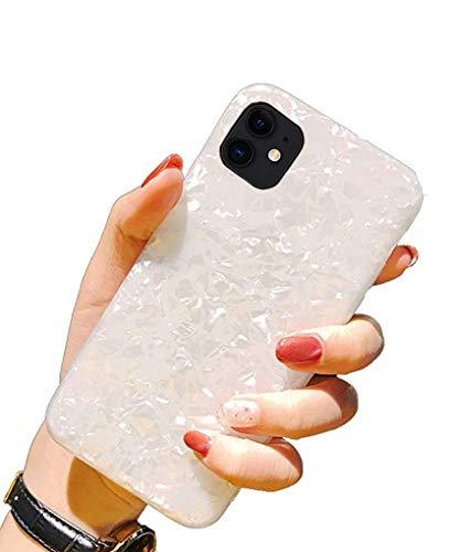 Handyhülle Kompatibel mit iPhone 11 Hülle Schutzhülle Bling Bling Shell TPU Weich Silikon Kratzfest Bumper Case für iPhone 11Weiße Muschel iPhone 11