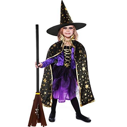 3 Piezas Capa de Bruja de Disfraz de Halloween con Sombrero y Palo de Escoba para Fiesta de Halloween Accesorios de Disfraz