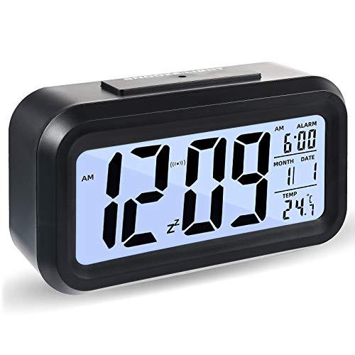 Reloj Despertador Digital, Luz Nocturna con Repetición De Pantalla Led, Reloj Despertador Junto a La Cama con Calendario De Tiempo Y Temperatura, para El Dormitorio De La Oficina En Casa (Negro)