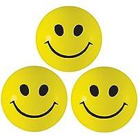Super Things Pelota Anti Estrés - 3 x Bola Anti-Estrés con Diseño de Carita Sonriente - Bola Estrujable Amarilla para Alivio de Estrés, ADHD & Autismo