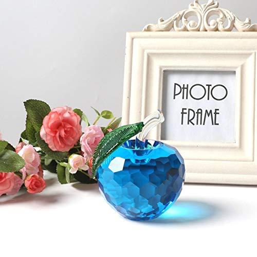 Zent 3D Blue Crystal Apple Figurine Glass Fruit Fermacarte Glassa per Apple Figurine Ornamenti Crystal Crafts Regalo di Natale