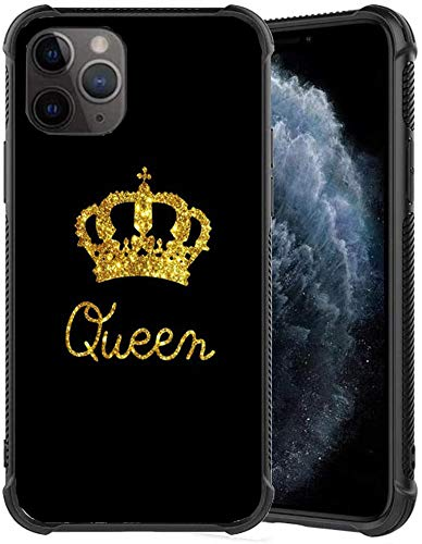 xc Slim fit Black Shockproof Bumper Phone case - Queen & King Crown Design - Thin Soft TPU and Tempered Glass Phone Case Protective Cover for iPhone 11 Pro Cases (B)