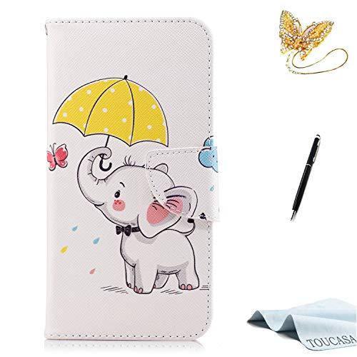 TOUCASA Huawei P10 Lite Handyhülle,Huawei P10 Lite Hülle, Brieftasche flip case 360 Grad Karte Halterung Kartenfächer extra Dünn Klapphülle Leinwand Farbmalerei Art fürHuawei P10 Lite(Baby Elefant)