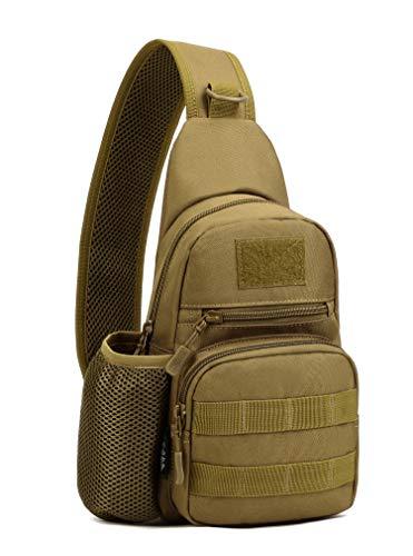 Yakmoo Taktische Brusttasche Militarische Schultertasche mit Wasserflaschenhalter Chest Sling Pack Molle System Crossbody Bag wasserdichte Umhängetasche Single Strap Rucksack für Outdoors