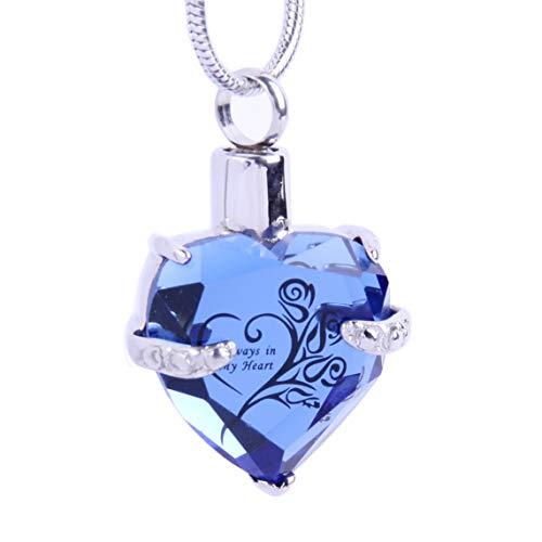 El corazón de cristal cristalino. Medallón colgante de acero inoxidable Glod, joyas...