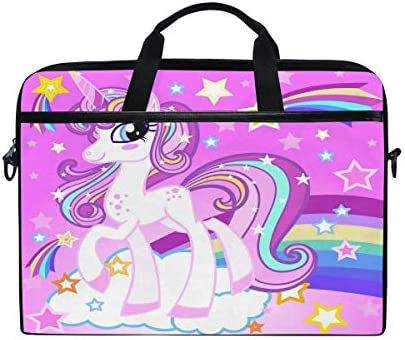 ALAZA Lovely Cartoon Rainbow Unicorn 15 inch Laptop Case Shoulder Bag Crossbody Briefcase for product image