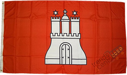 trends4cents Top Qualität - Flagge Hamburg MIT Wappen Fahne, 250 x 150 cm, EXTREM REIßFEST, Keine BILLIG-CHINAWARE, Stoffgewicht ca. 100 g/m²n/Außen, für Haus, Garten zur Deko