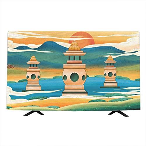 Cubierta de TV Protector de Pantalla Interior para Cubierta Antipolvo de TV de Pantalla Plana Tela Pantalla de TV Protector (Color : H, Size : 55 Inches)