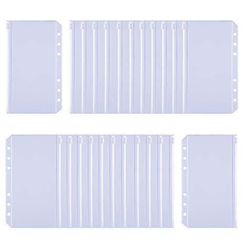 Antner 24PCS Binder Pockets A6 Size 6 Holes Zipper Binder Pouch Folders Clear Waterproof PVC Loose Leaf Bags for 6 Ring Binder Notebooks, Documents and Cards