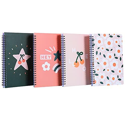 Cuaderno a5 Blocs de Notas con Flores Rosas, Anillas Rosas, Libreta Boutique en Espiral, Bueno Para Notas, Pintura y Graffiti, 80 Hojas / 160 Páginas, 4 piezas por juego